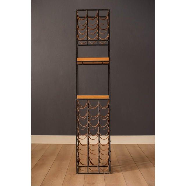 Mid Century Modern Leather And Iron Wine Rack By Arthur Umanoff Chairish