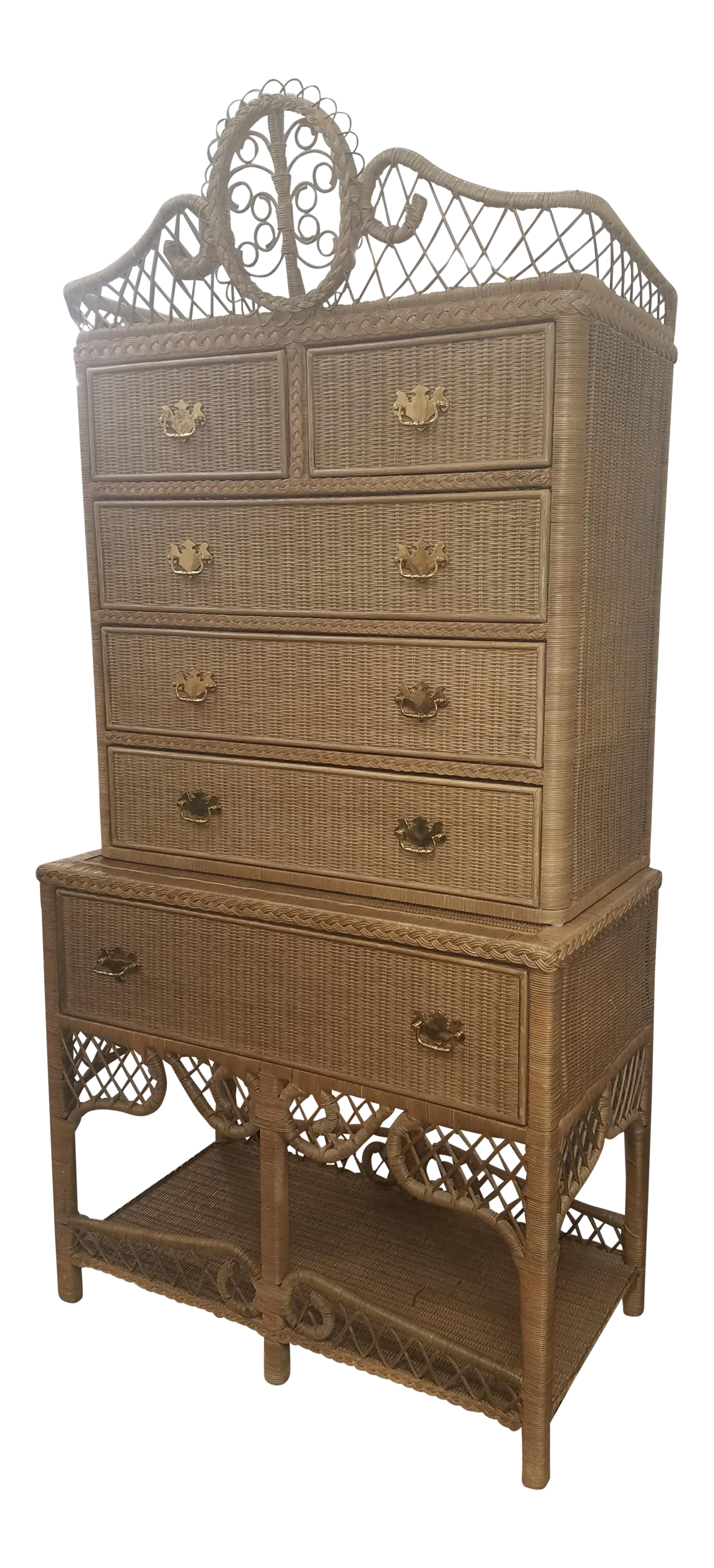 Charmant Vintage Ralph Lauren Safari Wicker Highboy