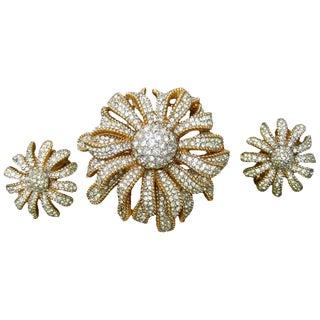 Ciner Crystal Gilt Metal Floral Brooch & Earrings Circa 1970 For Sale