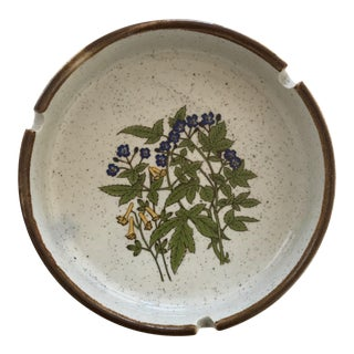 Nevco Speckled Stoneware W/ Floral Motif Ashtray, Made in Japan
