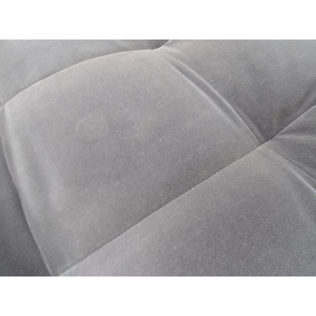 Shadow Gray Velvet Sectional, Left Chaise, Tufted Seating For Sale - Image 4 of 6