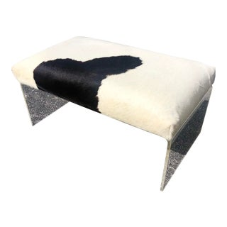 Lucite Bench With Cowhide Cushion For Sale