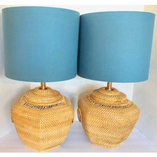 Pair of Vintage Rattan Lamps For Sale