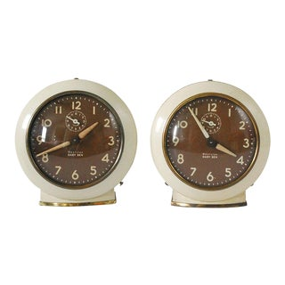 1950s Westclox Baby Ben Alarm Clocks - A Pair For Sale