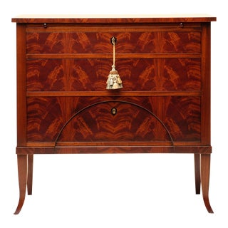 Biedermeier Flame Mahogany Hemisphere Wood Chest For Sale