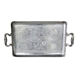 Vintage 1950's Hand Forged Rectangular Aluminum Tray For Sale