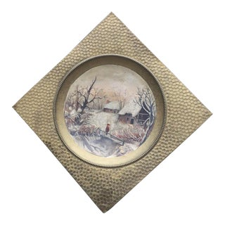 Hanging Brass Tray Painting For Sale