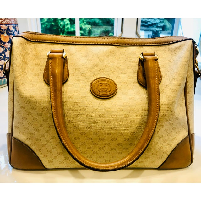 1980s Gucci Canvas Logo Satchel For Sale - Image 13 of 13