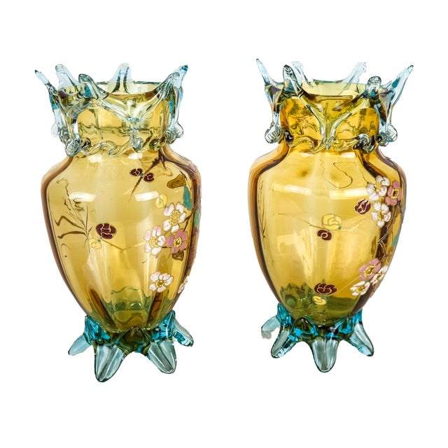 Traditional Mid 20th Century Large Amber Glass Vases With Cherry Blossom Relief - a Pair For Sale - Image 3 of 8