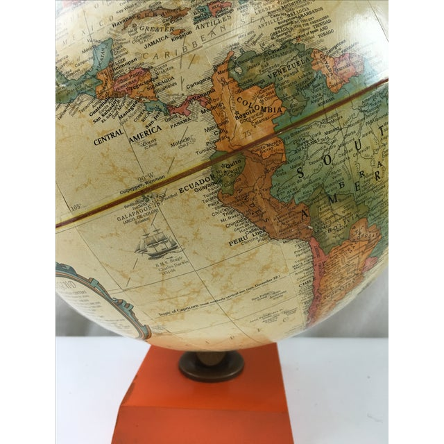 Modern Terrestrial Globe with Orange Base For Sale - Image 3 of 6
