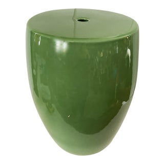 Chinoiserie Green Porcelain Garden Stool For Sale