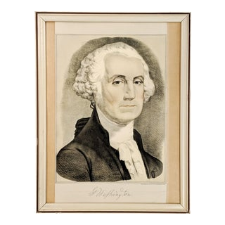 Vintage Portrait Print of George Washington by Currier and Ives For Sale