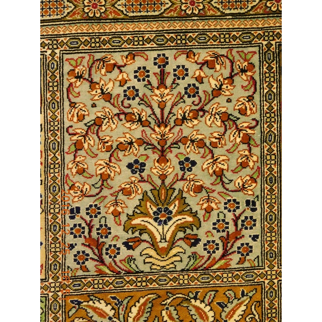 """Hand Knotted Pure Silk Persian Qom Rug - 4'10"""" x 4'10"""" - Image 2 of 9"""