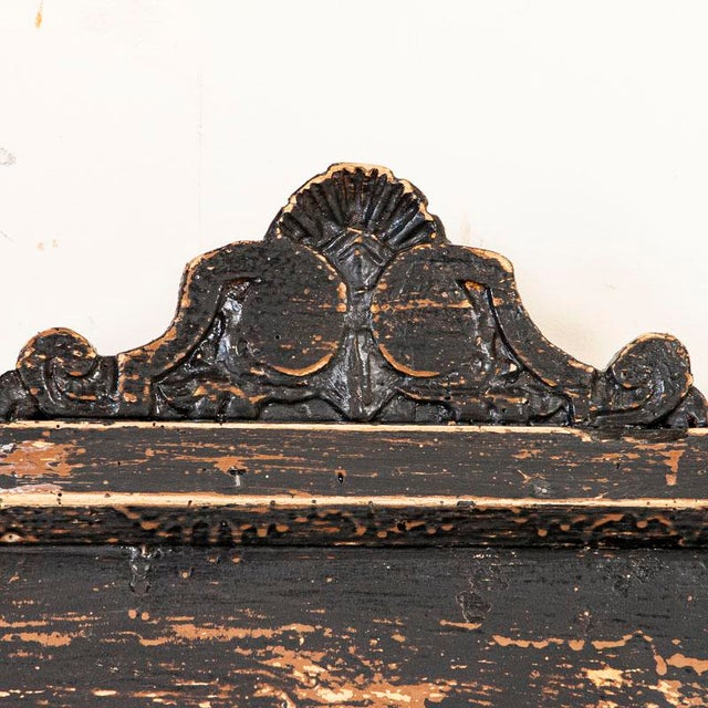 Late 19th Century Antique Simple Black Painted Pine Bench From Hungary For Sale - Image 5 of 9