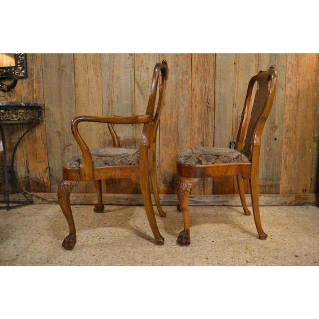 Late 19th Century Set of 10 Antique English Queen Anne Burl Walnut Dining Chairs circa 1880 For Sale - Image 5 of 7