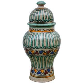 Moorish Ceramic Lidded Urn For Sale