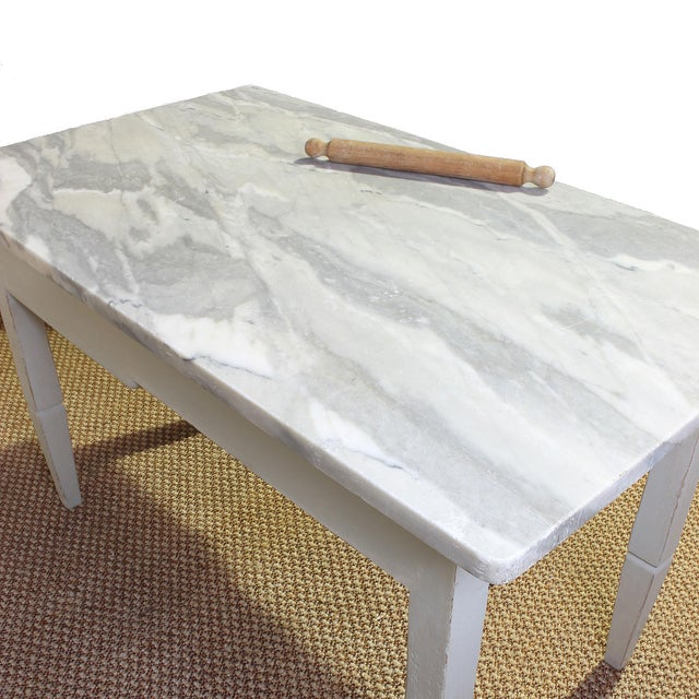 Vintage Italian Marble Top Kitchen Table For Sale In San Francisco - Image 6 of 10