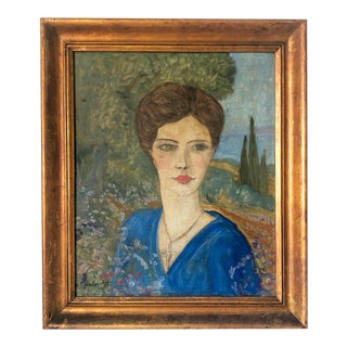 1920s French Woman Oil Painting by François Marius Berthet For Sale