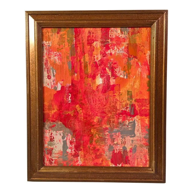 Abstract Red & Orange Painting - Image 1 of 5