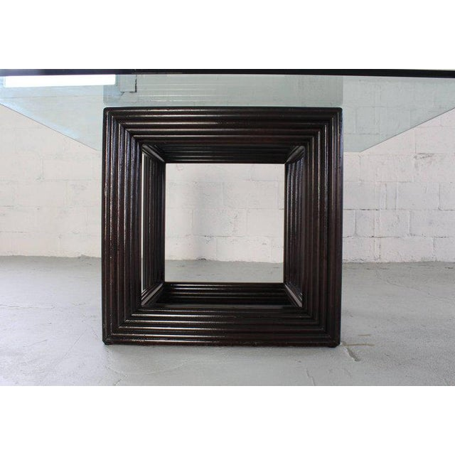 Large Square Thick Glass Top Rattan Cube Base Dining Conference Table For Sale - Image 9 of 13