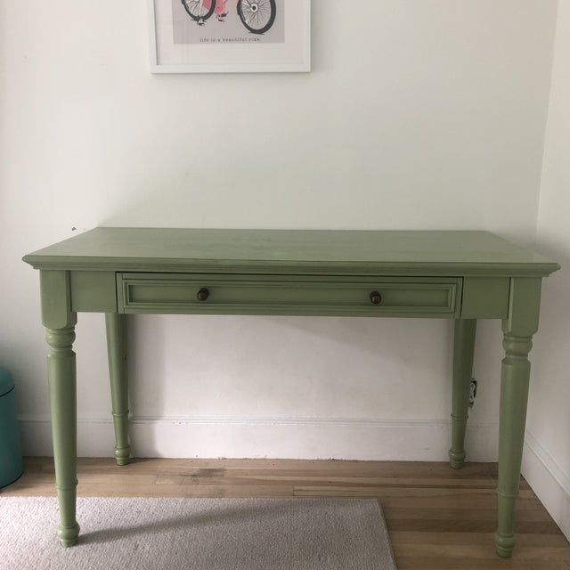 Wood Shabby Chic Pottery Barn Green Wooden Writing Desk For Sale - Image 7 of 7