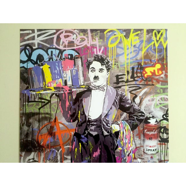 "Abstract Mr. Brainwash "" Charlie Chaplin "" Original Lithograph Print Pop Art Poster For Sale - Image 3 of 11"