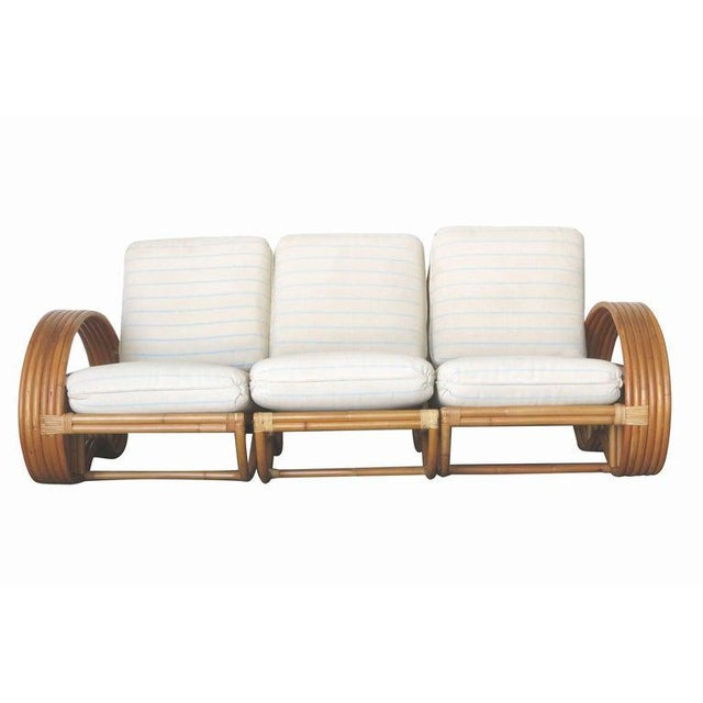 Mid-Century Modern Restored Paul Frankl Style Six-Strand Arm With Mahogany Shelf, Sofa + Chairs For Sale - Image 3 of 11