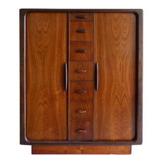 Dyrlund Highboy Hiboy Dresser of Rosewood from Denmark, Tambor Doors, circa 1970 For Sale