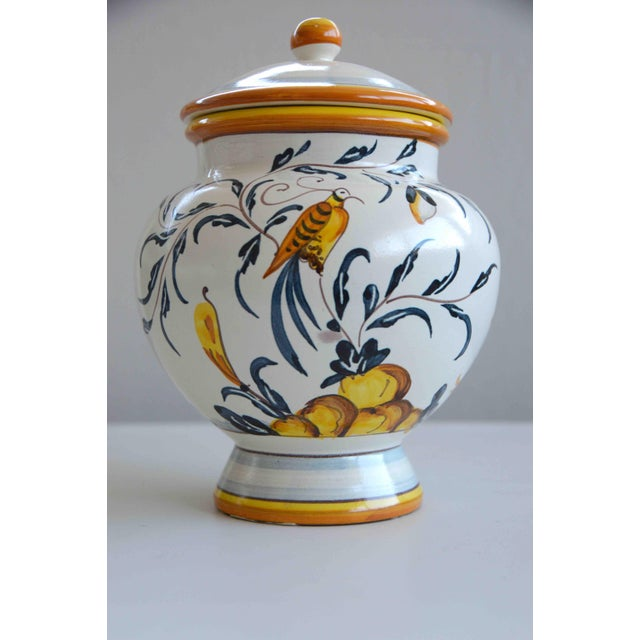 White Hand Painted Italian Ceramic Jar With Bird and Lemon Tree For Sale - Image 8 of 9