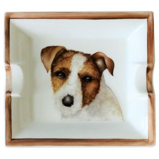 European Jack Russell Terrier Dog Ceramic Tray Vide-Poche or Ashtray For Sale