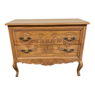 French Country Carved Pine + Cabriole Dresser For Sale