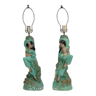 1950's Chalkware Dancer Lamps - A Pair
