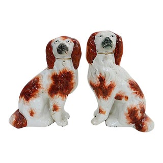Antique English Staffordshire King Charles Spaniels - a Pair