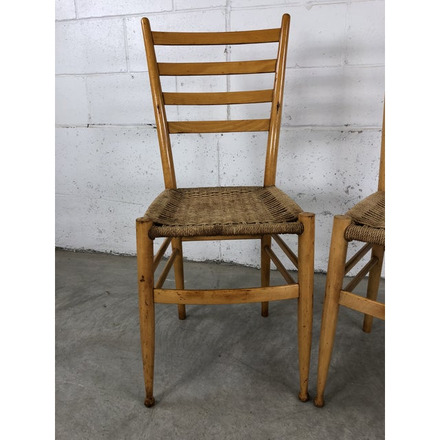 Mid-Century Italian Beech Wood Ladder Back Chairs Gio Ponti Style, Pair. Chairs are sturdy and the cording is tight. One...