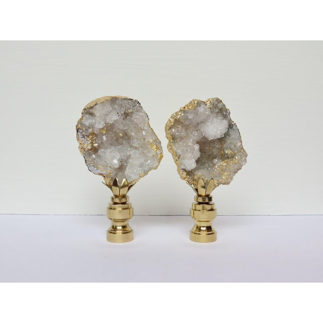 Gold Leaf Geode Crystal Finials - a Pair - Image 2 of 4