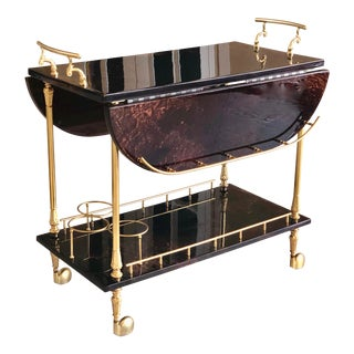 1960s Hollywood Regency Aldo Tura Goatskin and Brass Drop Leaf Bar Cart For Sale