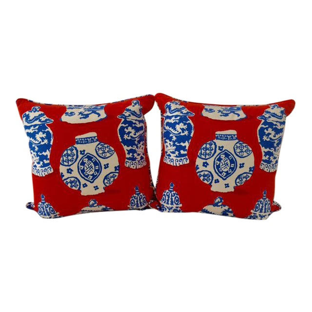 Dana Gibson Persimmon Red, White & Blue Pillows- A Pair - Image 1 of 7