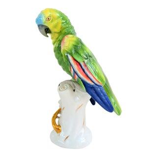 1970s Vintage Porcelain Vista Alegre Hand Painted Parrot Figurine For Sale