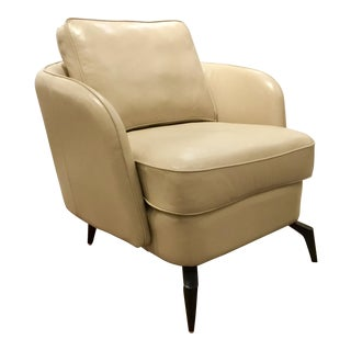 Modern Caracole Morris Leather Club Chair For Sale
