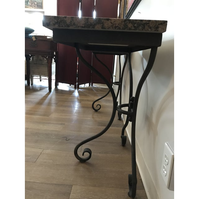 Vintage Granite Top Console Tables - a Pair For Sale - Image 4 of 6