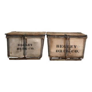 Antique Canvas Begley Drug Storage Bins - A Pair