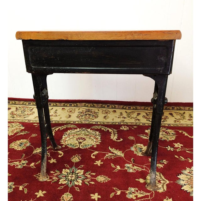 Antique American Seating Cast Iron Student School Desk & Chair For Sale - Image 5 of 10