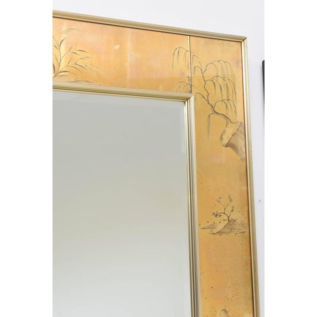 La Barge Mirror With Eglomise Style Panels Depicting Chinoiserie Scenes in Gold For Sale In West Palm - Image 6 of 10