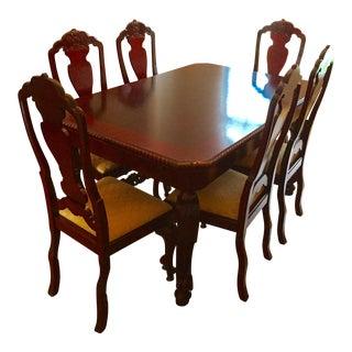 antique dutch mahogany dining set set of 7 - Antique Dining Table