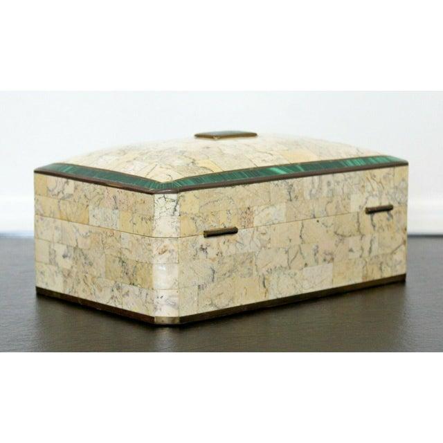 Mid-Century Modern Mid Century Modern Maitland Smith Brass Tessellated Stone Lidded Box Vessel 70s For Sale - Image 3 of 11