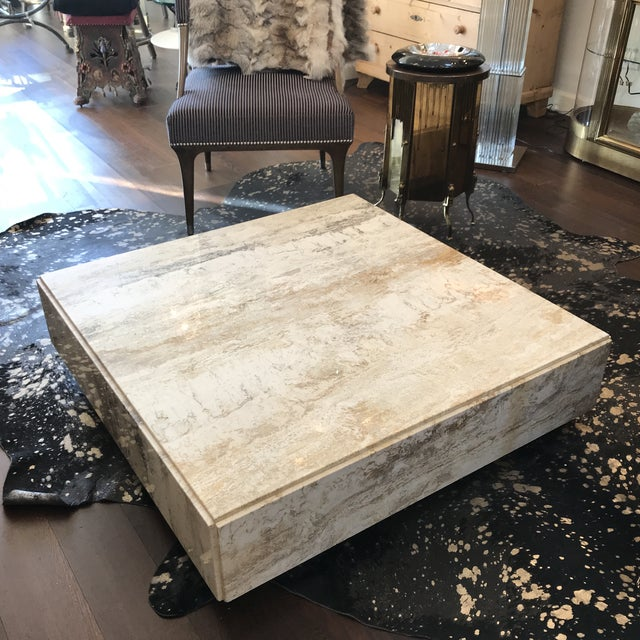 Gorgeous Plinth Travertine Cocktail Table in the Manner of Baughman For Sale - Image 4 of 9