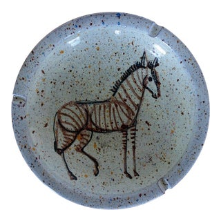 Rare Vintage Alfaraz Zebra Ashtray , Spain Ceramic Porcelain Studio Pottery Mid-Century Modern Aldo Londi Bitossi Eames Raymor Italy For Sale