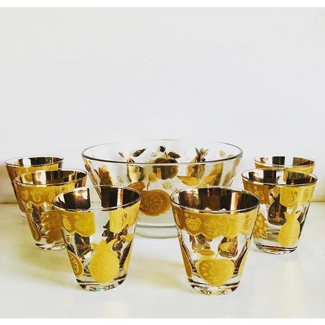 Culver Ltd. Culver Florentine Fruit Punch Bowl & Glasses - 7 Piece Set For Sale - Image 4 of 4