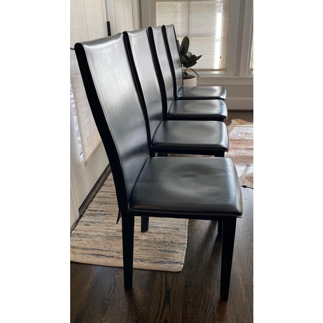 Danish Modern Modern Italian Black Leather Dining Chairs by Arper-Set of 4 For Sale - Image 3 of 7