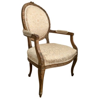 Louis XVI Style Carved Wood Fauteuil Accent Armchair For Sale